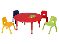 round kindergarten study table and chairs