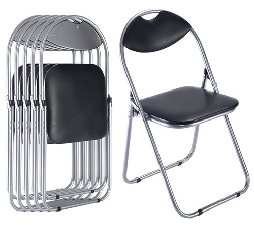 Black upholstered metal folding chairs with carrying handle