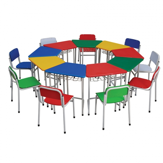 Wooden and metal preschool furniture party table
