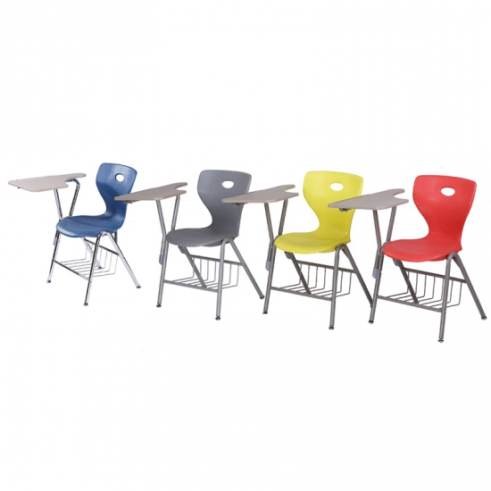 Color plastic school chairs with writing pad