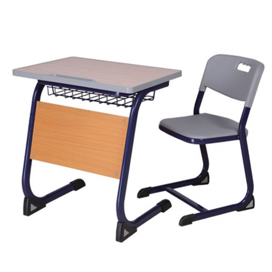 Wooden school desk with front panel