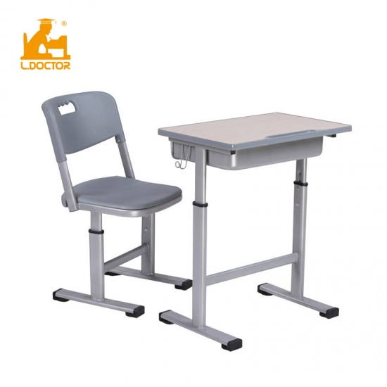 Height adjustable MDF school desk and chair