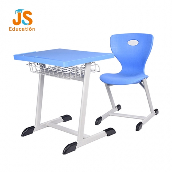 Modern blue plastic student desk and chair for school
