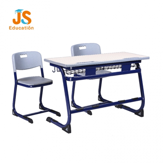 JS China school MDF double desk and chair with factory price