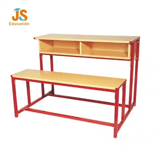 Old fashioned double school table bench with two seats