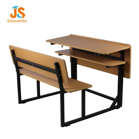 JS Double metal wooden school bench attached for student