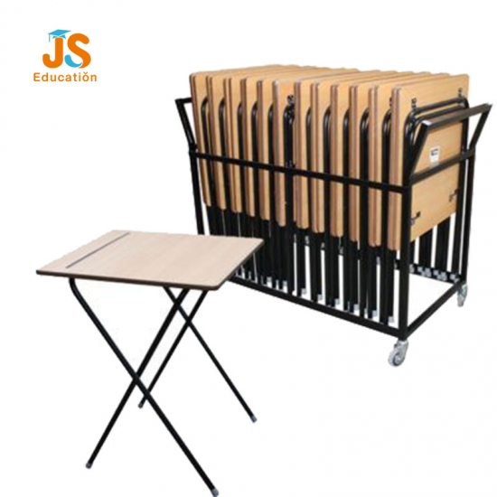 School folding exam table with trolley