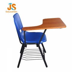 Lightweight plastic school chair with writing pad