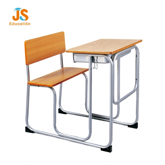 Plywood school table with attached