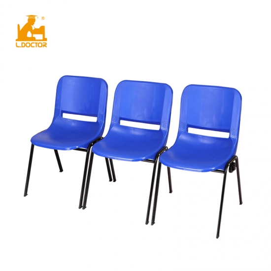 Blue plastic student chair with joinable