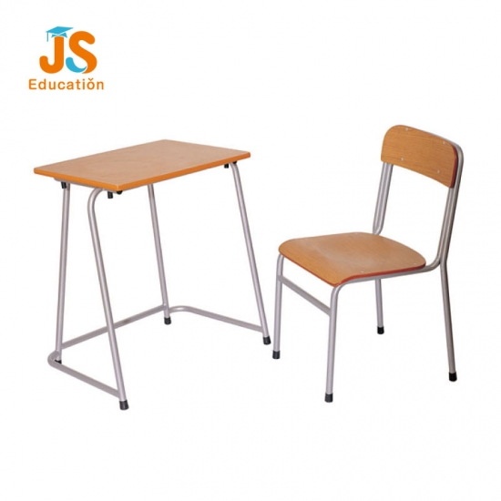 Cheap Simple school desk and chair with plywood TOP