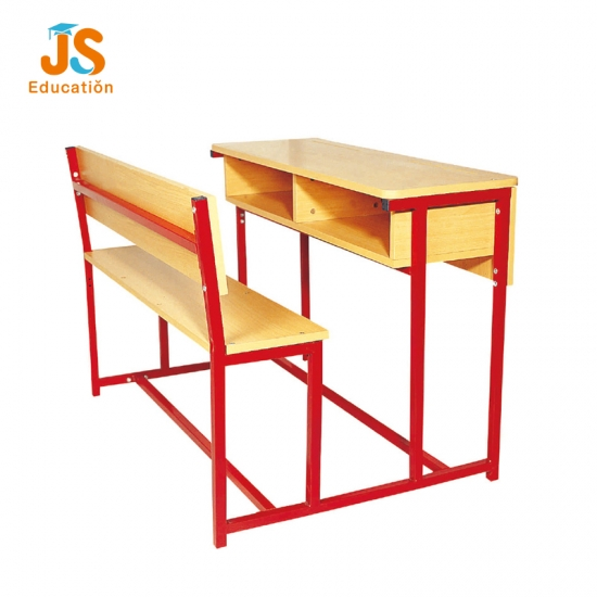 Wooden Red structure school desk with bench