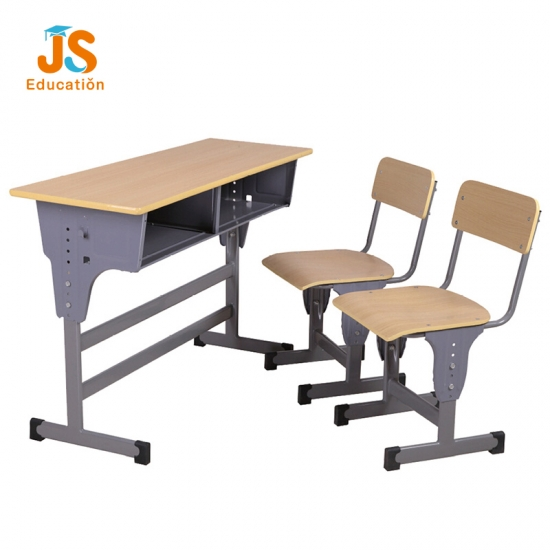 Height adjustable double classroom desk and chair for primary school