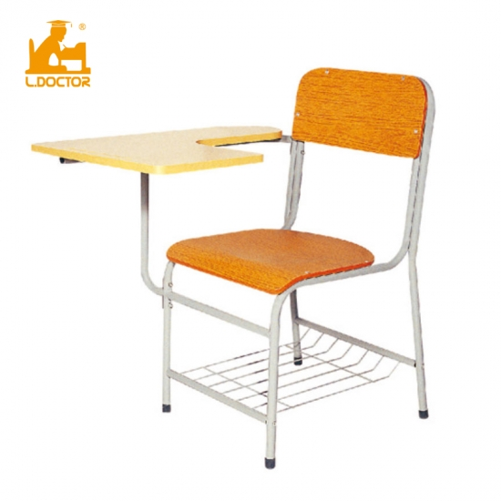 Wooden student chair with writing pad