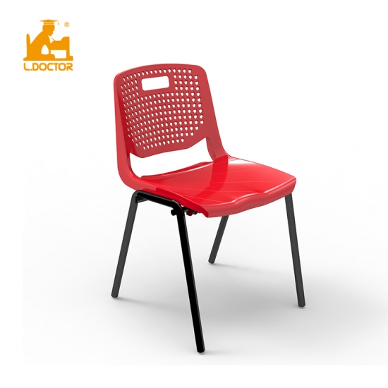 Stackable plastic university/college classroom chairs with cushion