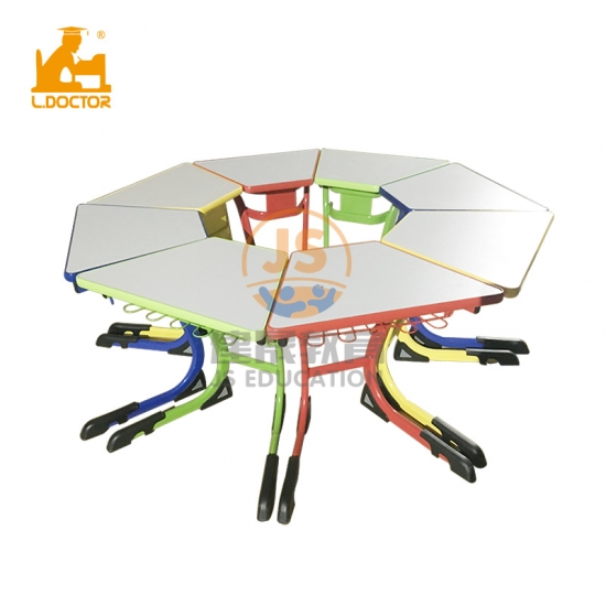 Collaborative color table with 8 seat classroom learning desk