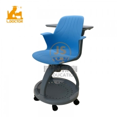 Modern PP plastic  rotatable school student chair with writing pad