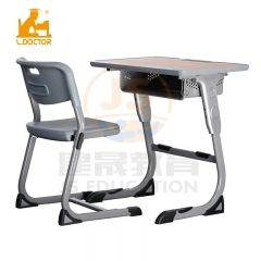Middle school equipment metal student  table and chair with height adjustable leg