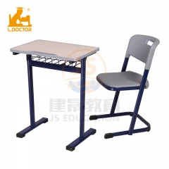 Old school furniture red metal classroom tables and chairs
