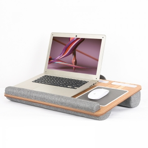 L.DOCTOR LapGear Home Office Lap Desk with Device Ledge Mouse Pad and Phone Holder - Silver Carbon laptop table
