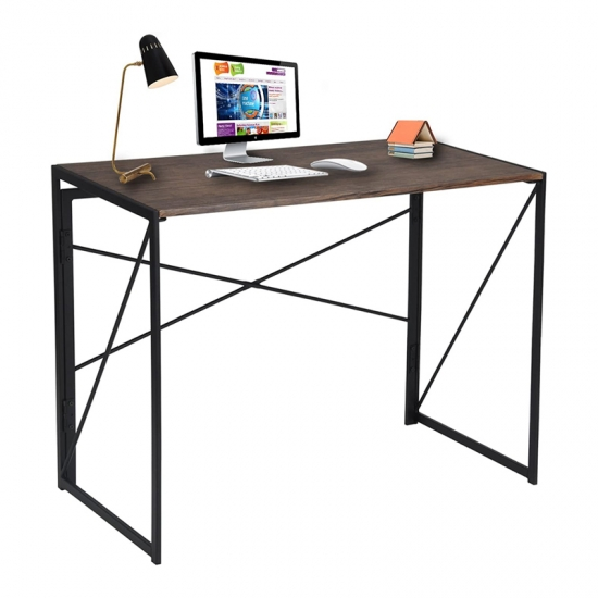 Modern Simple Study Desk Industrial Style Folding Laptop Table for Home Office Notebook Desk Brown Desktop Writing Computer Desk