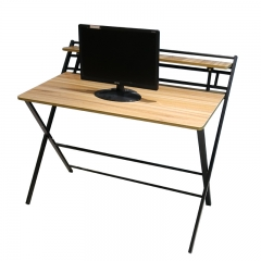 rustic wooden folding computer table with metal legs